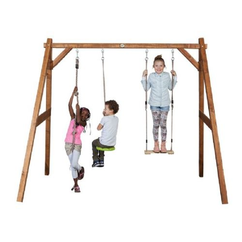 Suffolk Natural Wooden Kids Double Swing Set